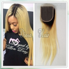 Diosa High Quality 1B 613 Ombre Closure Free Part Virgin Brazilian Human Hair Lace Closure Bleached Knots No Shedding No Tangle