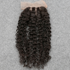 7A Cheap Middle Part Virgin Mongolian Kinky Curly Lace Closure Bleached Konts 4x4 Human Hair Closure Lace Kinky Curly Closure