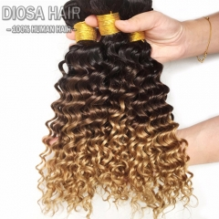 Deep Wave Brazilian Ombre Hair Bundles 3 Tone Human Blonde Hair Extension Non Remy Hair Weave 3 pcs a lot