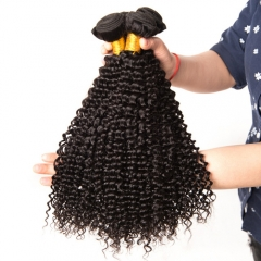 Kinky Curly Hair Bundles Natural Color 100% Human Hair Weave