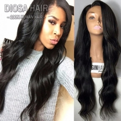 NEW Unprocessed 100% Indian Hair Full Lace Wig/Wavy Lace Front Wig With Bleached Knots Virgin Indian U Part Wig For Black Women Natural Color