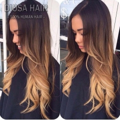 Ombre Silk top Lace Front Human Hair Wigs 1B#T4#T27# Ombre Full Lace Wig Ombre Lace Front Wig With Baby Hair