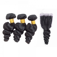 Diosa Hair Brazilian Loose Wave 3 Bundles With Closure Loose Wave Human Hair Weave