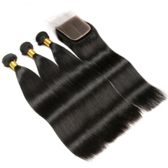 Diosa Human Hair Bundles With Closure 3 Bundles Straight Brazilian Hair Weave Bundles With Closure With Baby Hair