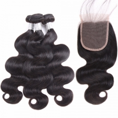 Diosa Hair Body Wave Human Hair Bundles With Closure Natural Color Brazilian Human Hair