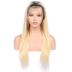 Full Lace Human Hair Wigs #613 With Dark Roots Brazilian Hair Blonde Lace Wigs Natural Hairline With Baby Hair