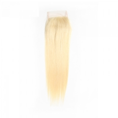 Diosa Hair Brazilian Straight Hair Weave Human Hair 613 Blonde Lace Closure 4x4 Free Part 10-20 inch Remy Hair