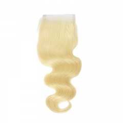 613 Brazilian Lace Closure Body Wave Human Hair Bundles Blonde Remy Hair Extensions with Baby Hair Free Part