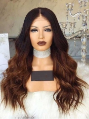 Ombre Lace Front Wigs Human Hair Middle Part 1B#T30# Ombre Full Lace Wig With Baby Hair Bleached Knots