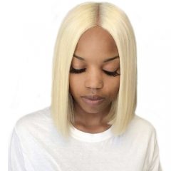 613 Middle Part Short Bob Wigs, Platinum Blonde Lace Front Human Hair Wigs for Black Women, Pre Plucked