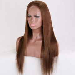 Silky Straight Full Lace Wigs Human Hair For Women Pre Plucked 130 Density Virgin Full Lace Wig With Bleached Knots