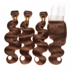 Body Wave Bundles with Closure Peruvian Hair Weave 3 Bundles #4 Light Brown Non-remy Human Hair Bundles with Closure